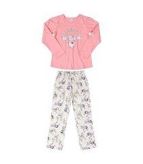 pijama blusa e calça quimby rosa
