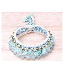 quartz beaded wristband bracelet, 'ice dreams' (thailand)