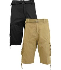 galaxy by harvic men's belted cargo shorts with twill flat front washed utility pockets, pack of 2
