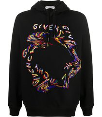 givenchy beaded distorted logo hoodie - black