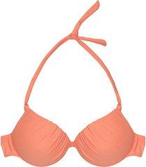 bikini estilo sostén drapeado naranja samia