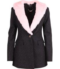 blumarine wool faux fur jacket