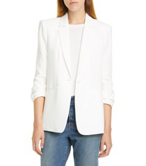 women's cinq a sept khloe ruched sleeve blazer, size 2 - ivory