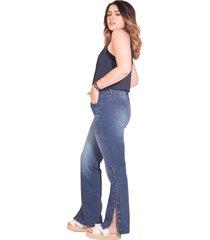 jean bota recta femenino azul medio oscuro pretty much
