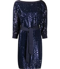 emporio armani sequin embroidered tie waist dress - blue