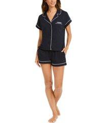 tommy hilfiger printed shirt & shorts pajama set