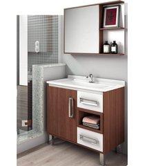 gabinete para banheiro com nicho e cuba de apoio lilies - branco/marrom - dafiti