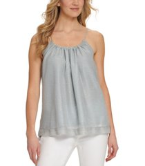 dkny sleeveless metallic top
