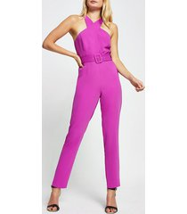 river island womens purple sleeveless wrap neck jumpsuit
