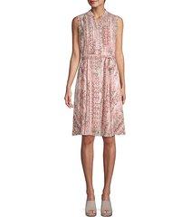 pleated snake-print dress