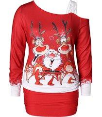 plus size christmas one shoulder elk print tee
