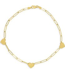 14k yellow gold heart station long link anklet