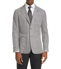 men's canali classic fit plaid knit cotton blend sport coat