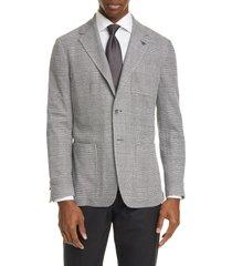 men's canali classic fit plaid knit cotton blend sport coat