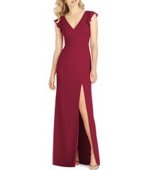 women's after six v-neck ruffle sleeve column gown, size 18 - burgundy