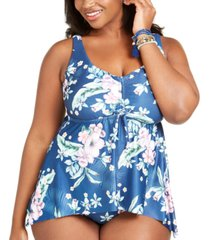 becca etc plus size costa rica printed tankini top women's swimsuit