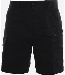 dsquared2 multi-pocket cargo shorts in cotton blend