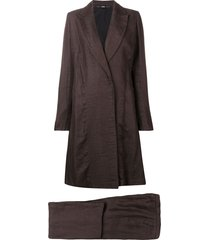 gianfranco ferré pre-owned 1990's flared coat & trousers - brown