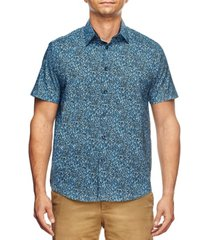 tallia men's slim fit liberty floral print short sleeve shirt and a free face mask