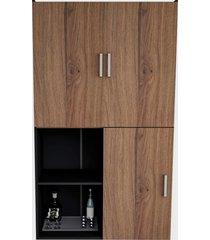 armário multiuso c/ nichos e 02 portas e mesa preto e nogueira appunto