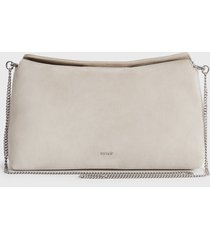 reiss evie - suede slouch clutch in putty, womens