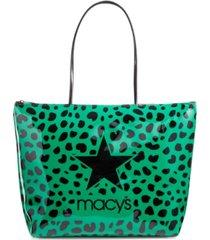 dani accessories green leopard logo tote bag, created for macy's