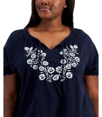 tommy hilfiger plus size embroidered peasant top