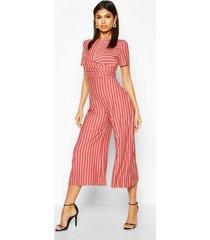 striped wrap culotte jumpsuit, rust