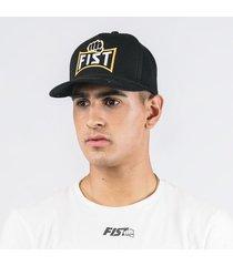 gorra negra bordado naranja fist