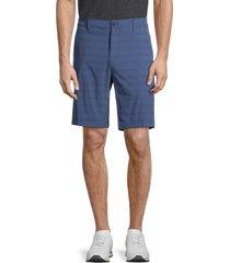 hickey freeman men's striped performance shorts - medium indigo - size 40
