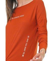 blusa lunender lettering laranja