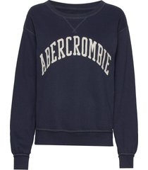 heritage relaxed crew sweat-shirt tröja blå abercrombie & fitch