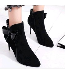 pb163 cute butterfly matin booties, nubuck leather,  size 5-8.5, black