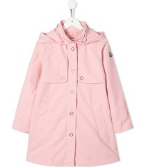moncler enfant hooded a-line coat - pink