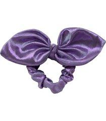 elástico de cabelo scrunchie ania store lamê laço lilás