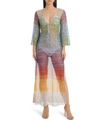 women's missoni mare metallic stripe cover-up dress, size 8 us - green