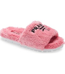 women's prada logo slide sandal, size 11us - pink