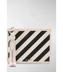 off-white diagonal stripes pouch