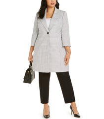 le suit plus size one-button notched-collar pant suit