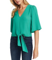 1.state flounce-sleeve tie-front top