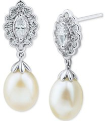arabella cultured freshwater pearl (7-7.5mm) & marquise swarovski zirconia drop earrings in sterling silver