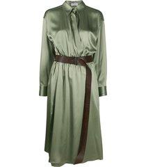 brunello cucinelli wrap style shirt dress - green