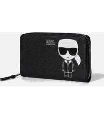 karl lagerfeld women's k/ikonik cont zip wallet - black