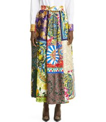 dolce & gabbana brocade & jacquard patchwork maxi skirt, size 12 us in multi at nordstrom