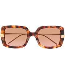 boucheron eyewear tortoiseshell square tinted sunglasses - brown