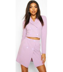 tall crop blazer & skirt co-ord, lilac