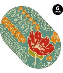 capa para sousplat mdecore flor verde 6pã§s - verde - dafiti