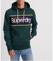 superdry men's core logo stripe hoodie