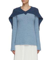 cape detail v neck rib knit sweater