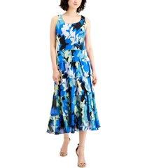 nine west printed tiered dress
